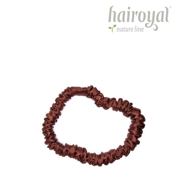 Scrunchie (100 % mullberry silk) - small - espresso