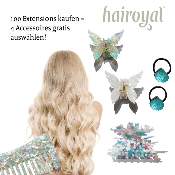 100 Luxury Extensions 50 cm straight + free hair accessoires set