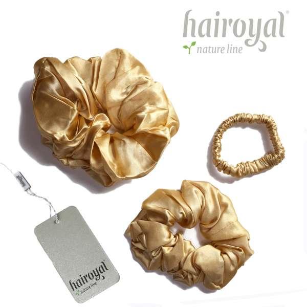Scrunchie (100 % mullberry silk) - 3 pcs set - gold