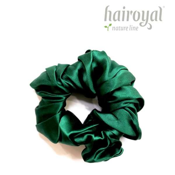 Scrunchie (100 % mullberry silk) - medium - dark green