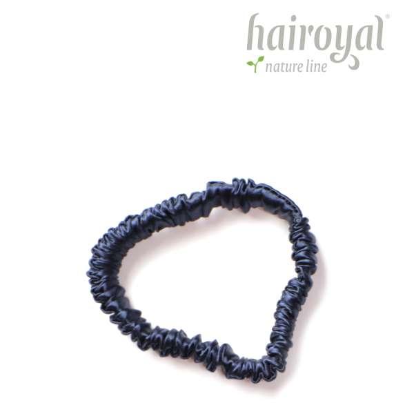 Scrunchie (100 % Maulbeerseide) - Small - Dark Blue