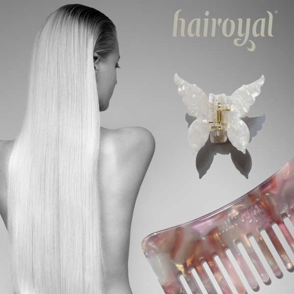Set Haircomb rough & XL Butterfly Clip #pastel-shade-pearl-white