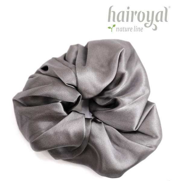 Scrunchie (100 % mullberry silk) - large - anthracite
