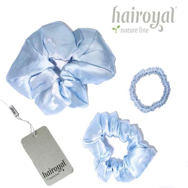 Scrunchie (100 % Maulbeerseide) - 3er Set - Light Blue