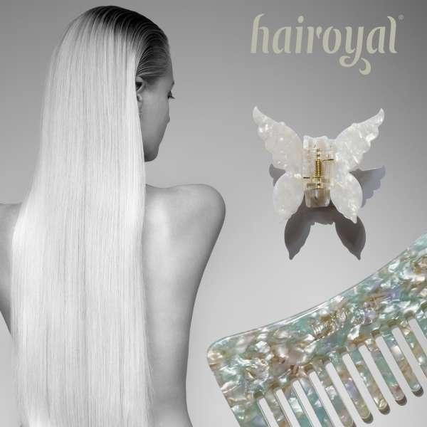 Set Haircomb rough & XL Butterfly Clip #mermaid-turchese-pearl-white