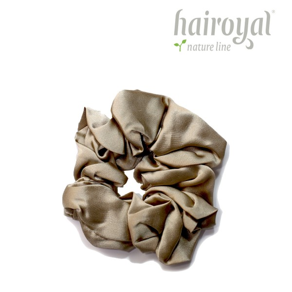 Scrunchie (100 % Maulbeerseide) - Medium/Large - Taupe