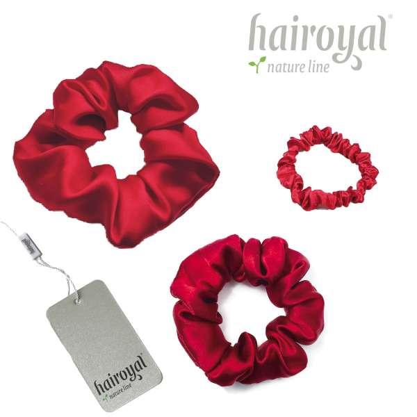 Scrunchie (100 % mullberry silk) - 3 pcs set - ruby