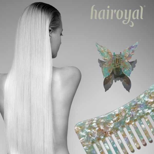 Set Haircomb rough & XL Butterfly Clip #mermaid-turchese