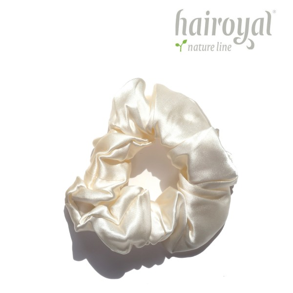Scrunchie (100 % Maulbeerseide) - Medium/Large - Cream