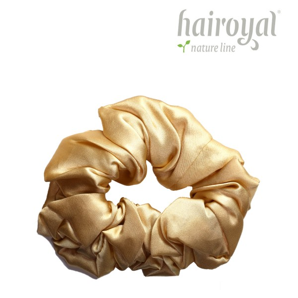 Scrunchie (100 % mullberry silk) - medium - gold