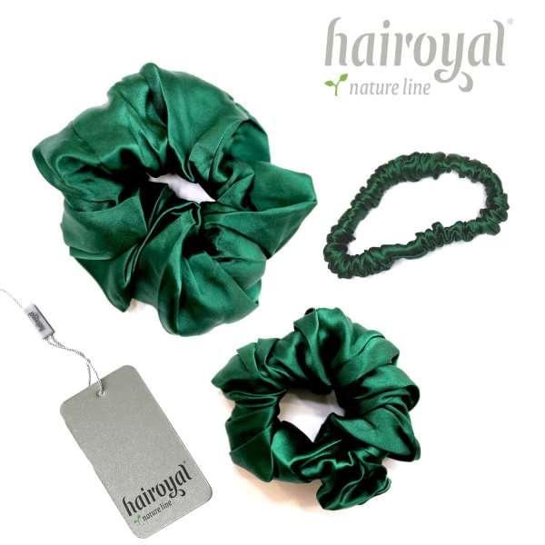 Scrunchie (100 % mullberry silk) - 3 pcs set - dark green