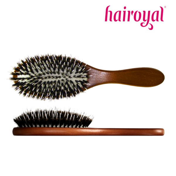 Hairoyal Extensions Brush with wooden handle and 100 % boar bristles