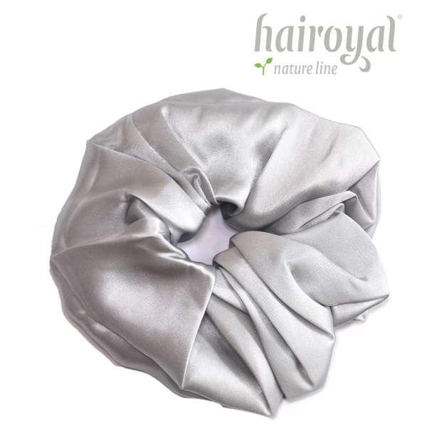 Scrunchie (100 % Maulbeerseide) - XLarge - Silver