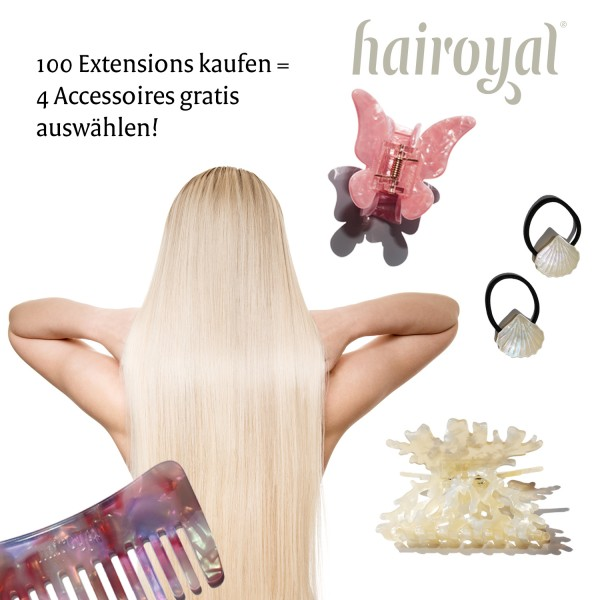 100 Luxury Extensions 60 cm straight + free hair accessoires set