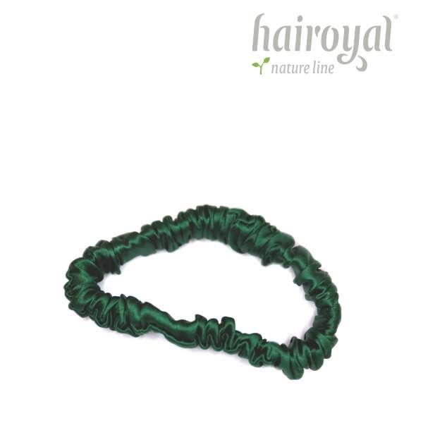 Scrunchie (100 % mullberry silk) - small - dark green