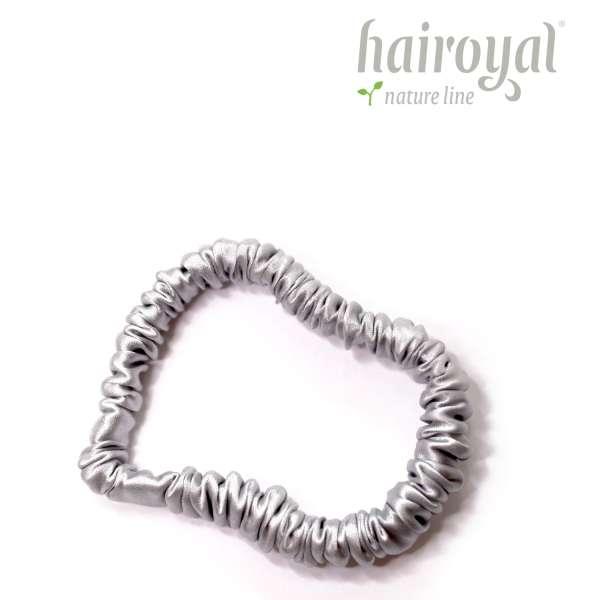Scrunchie (100 % mullberry silk) - small - silver