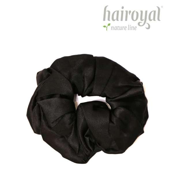 Scrunchie (100 % Maulbeerseide) - Medium/Large - Black