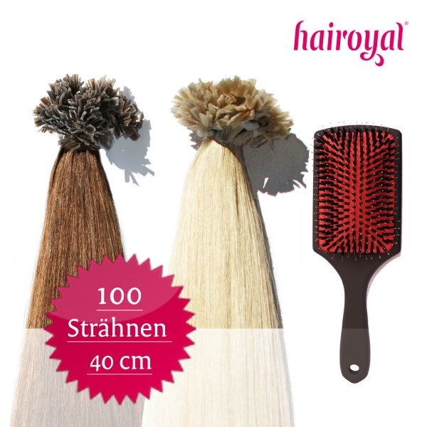 100 Extensions of Hairoyal (straight) + Professional Extensions Brush